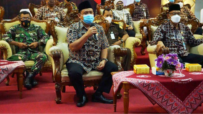 Wakil Bupati Bantul Joko B. Purnomo dalam laporannya menyampaikan dukungannya terhadap Gerakan Indonesia Raya Bergema. Foto: nyatanya.com/Humas Pemkab Bantul