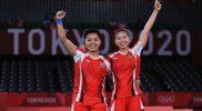 Sejarah besar menanti diciptakan ganda putri Indonesia Greysia Polii/Apriyani Rahayu. Mereka berpotensi membawa pulang medali emas Olimpiade 2020 Tokyo setelah memastikan tiket final di Mushashino Forest Plaza pada Sabtu (31/7/2021). (Foto: Kemenpora/ nocindonesia)