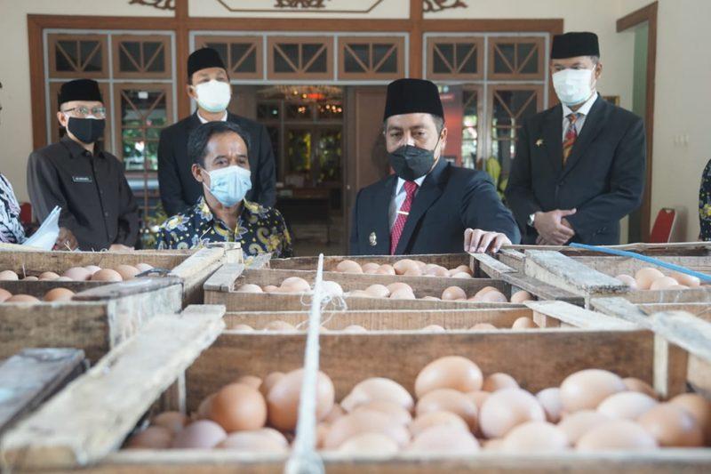 Paguyuban Pinsar Petelur Nasional Kabupaten Magelang memberikan bantuan sebanyak 650 kg telur bagi tenaga kesehatan. (Foto: Humas Kab. Magelang)