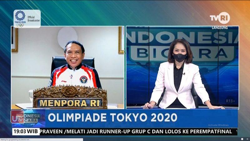 Menpora Amali saat menjadi narasumber pada acara live dialog Indonesia Bicara, TVRI. (Foto:nyatanya.com/Kemenpora)