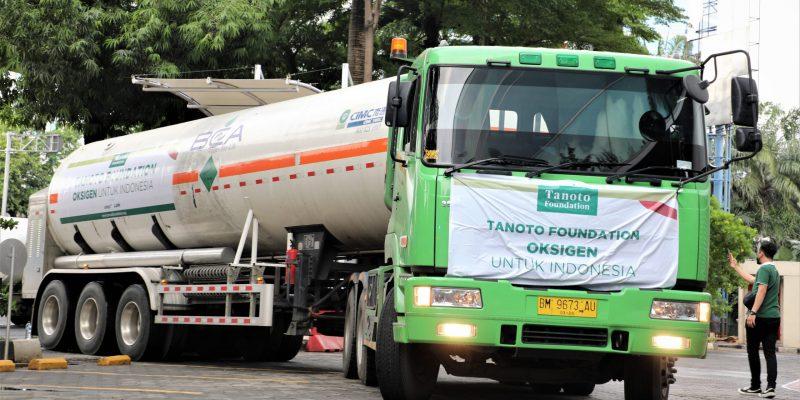 Pemerintah melalui Kementerian Kesehatan dan Badan Nasional Penanggulangan Bencana (BNPB) menerima bantuan berupa 500 ton Liquid Oxygen dari Tanoto Foundation.(Foto:nyatanya.com/BNPB)