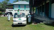 Relawan RAPI melakukan penyemprotan disinfektan di lingkungan Balai Desa Danurejo Mertoyudan Magelang.(Foto:nyatanya.com/Humas Magelang)
