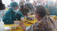 Pelaksanaan vaksinasi yang digelar Kodim 0710/Pekalongan. (Foto:nyatanya.com/Diskominfo Pekalongan)