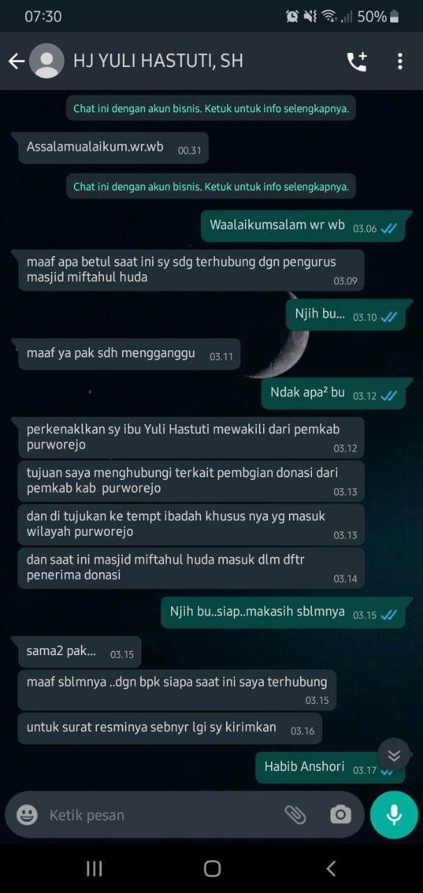 Foto tangkapan layar percakapan WA yang mengatasnamakan Wakil Bupati Purworejo. (Foto:nyatanya.com/Humas Purworejo)