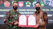 Komandan Kodim (Dandim) 0735/Surakarta, Letkol Inf Wiyata Sempana Aji dan Wakil Walikota Surakarta Teguh Prakosa. (Foto:nyatanya.com/Diskominfo Surakarta)