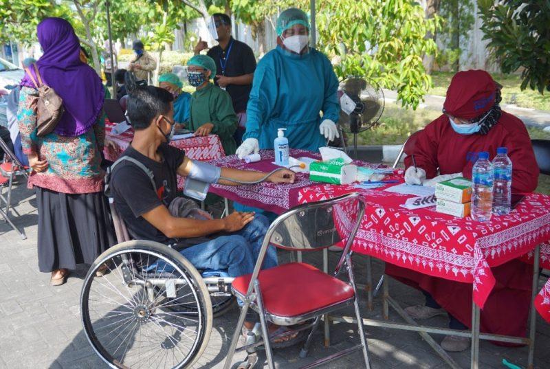 Vaksinasi dosis pertama ini menyasar 450 orang penyandang disabilitas di Kabupaten Bantul. (Foto: Humas Pemkab Bantul)
