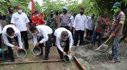Bupati Bantul H. Abdul halim Muslih mencanangkan program kegiatan padat karya infrastruktur Tahun Anggaran 2021 di Pedukuhan Bungsing, Guwosari, Pajangan. (Foto: Humas Bantul