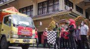Bupati Klaten melepas armada pengiriman bantuan beras dari Kemensos RI ke 26 wilayah kecamatan. (Foto:Diskominfo Klaten)