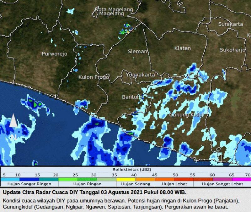 Update Citra Radar Cuaca DIY Tanggal 3 Agustus 2021 Pukul 08.00 WIB.  (Foto: BMKG)