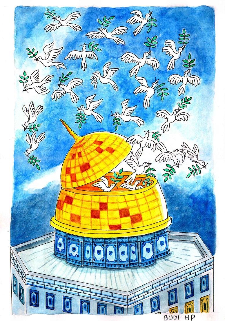 Kartun Budi HP berjudul 'Jerusalem 1' (2020)