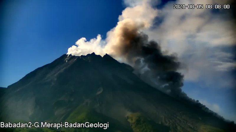 Rekaman awan panas guguran Merapi tanggal 5 Agustus 2021 pukul 08.05 WIB. (Foto: BPPTKG)