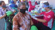Masyarakat antusias mengikuti Vaksinasi Massal Merdeka Candi. (Foto: Diskominfo Pekalongan)