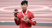Keberhasilan Saptoyogo menyumbangkan medali perunggu bagi Indonesia sekaligus merupakan medali kedua bagi kontingen Merah-Putih di Paralimpiade 2020. (Foto:npcindonesia/kemenpora)