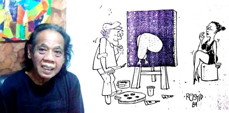 Anwar Rosyid dan salah satu kartun yang pernah dibuatnya. (Foto: dokumentasi pribadi)