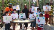 Anak-anak di Desa Nglobo mengekspresikan dukungannya pada atlet Jateng yang berlaga di PON XX Papua dengan menggambar. (Foto: Dokumentasi Sedulur Art Blora)