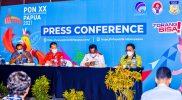 Konferensi pers tentang PON dan Pertumbuhan Ekonomi Papua di Media Center Kominfo Klaster Kabupaten Jayapura. (Foto:MCKominfo)
