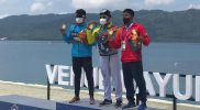Atlet Dayung Riau, Maizir Riyondra sukses menyumbang medali emas pertama bagi kontingen Riau di PON XX Papua. (Foto:MC Prov Riau)