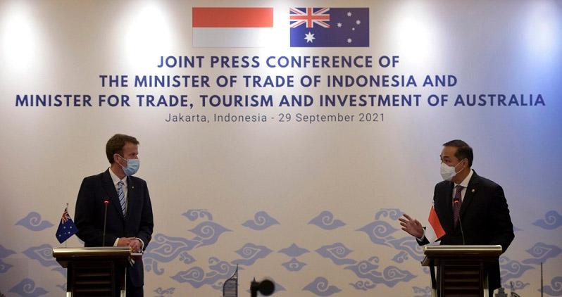 Mendag Muhammad Lutfi mengatakan pertemuannya dengan Kementerian Perdagangan dan Investasi Australia sepakat bersinergi untuk mempercepat pemulihan ekonomi kedua negara pasca pandemi Covid-19. (Foto: Biro Humas Kemendag)
