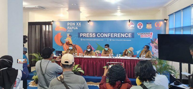 Jumpa pers ketersediaan dan terpenuhinya ikan dan daging di Merauke menjelang pelaksanaan PON, di Media Center Kominfo PON Papua Klaster Merauke. (Foto:MCKominfo)
