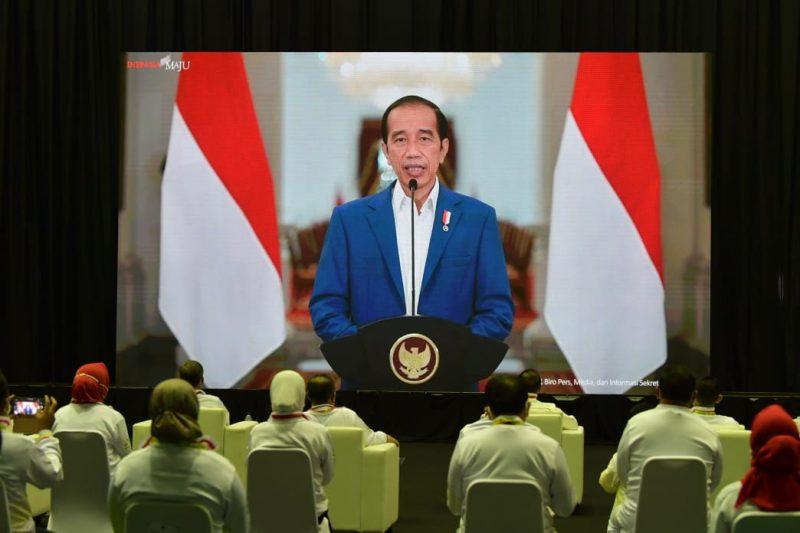 Presiden Republik Indonesia Joko Widodo menyampaikan harapannya dalam peringatan Haornas ke-38 tahun 2021. (Foto:bagus/kemenpora.go.id)