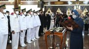 Bupati Sukoharjo, Hj Etik Suryani SE MM melantik 415 pejabat secara virtual di lima lokasi berbeda untuk menghindari terjadinya kerumunan. (Foto: Humas Kab Sukoharjo)