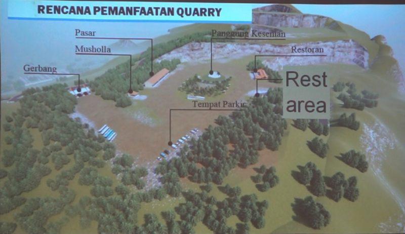 Gambar (maket) rencana lokasi bekas penambangan batu andesit (quarry) bakal menjadi destinasi wisata menarik di Indonesia dan Jawa Tengah.  (Foto: BBWS DIY)
