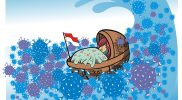 """Selamatkan Indonesia, kartun karya Jadud Sumarno (2020). Kartunis kelahiran Kulonprogo Oktober 1979 yang kini berkarya di Nagan Raya Aceh. Kartun ini dimuat dalam buku """"Indonesia Melawan Corona ala Kartunis"""" yang diterbitkan Graha Ilmu bersama Federasi Kartunis Indonesia (Pakarti), Cetakan I - 2020."""