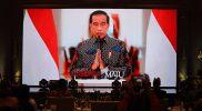 Presiden Joko Widodo secara resmi membuka Utsawa Dharmagita (UDG) Tingkat Nasional XIV Tahun 2021 Minggu (17/10/2021) secara virtual. (Foto: BPMI SekPres)