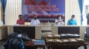 Konferensi pers dan pemusnahan barang bukti 19 kg ganja kering dari tersangka ATC yang ditangkap di wilayah Secang, Magelang. (Foto: Humas/beritamagelang)