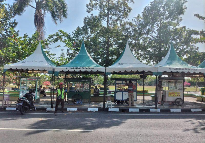 Uji coba pembukaan kawasan Alun-alun Wates bagi PKL dimulai sejak 28 September hingga 4 Oktober 2021. (Foto:MC.Kab.Kulonprogo)