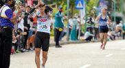 Indah Lupita Sari tampil gemilang pada debut pertamanya di PON XX Papua di nomor jalan cepat putri 20 Km, yang digelar di Kuala Kencana, Sabtu (9/10/2021) dengan catatan waktu 1:54:13 detik. (Foto: Humas PPM/Fernando Rahawarin)