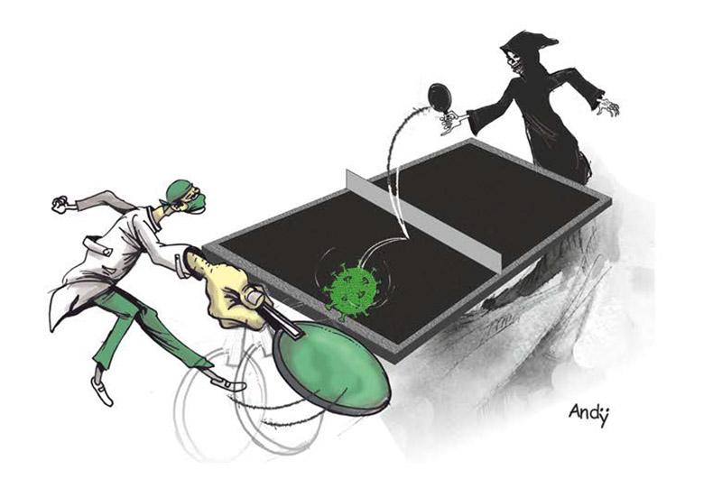 Kalahkan Corona, kartun karya Andres Batista Valdes asal Cuba, dalam buku
