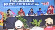 Konferensi pers 'Perkembangan UMKM dan Ekonomi Kreatif di Kabupaten Jayapura' di Media Center Kominfo PON XX Papua Klaster Kabupaten Jayapura,Jumat (8/10/2021). (Foto: Ricky Pangkatana/MCC Kominfo Kluster Kab Jayapura)