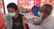 Vaksinasi massal di Lapangan Drh Soepardi Sawitan Kota Mungkid Kabupaten Magelang. (Foto:Humas/beritamagelang)