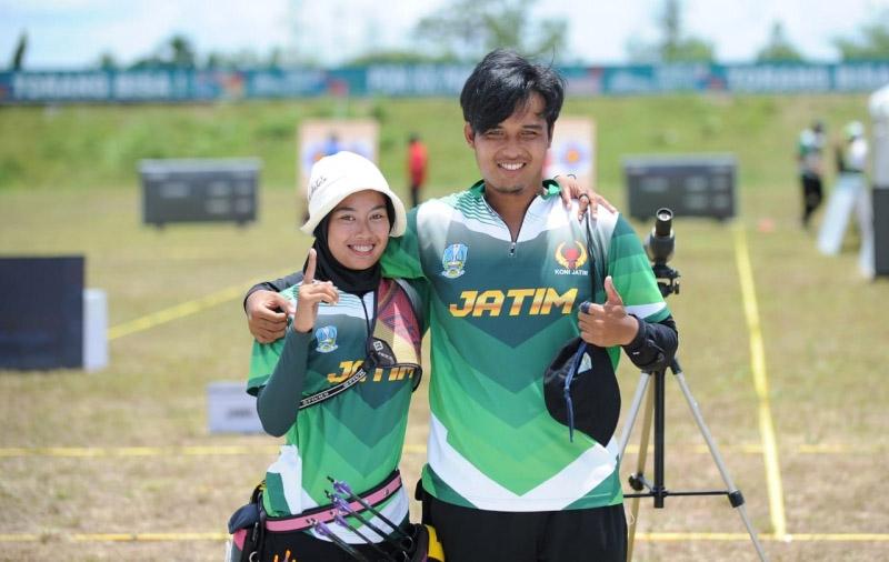 Kontingen Jawa Timur keluar sebagai juara umum cabor panahan di PPON XX 2021 dengan 7 medali emad dan 2 perak.(Foto: MC Diskominfo Prov Jatim)