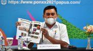 Pelaksana Tugas (Plt) Kepala Dinas Pariwisata Kabupaten Merauke Benhur Rentandatu, saat melakukan konferensi pers di Media Center Kominfo PON Papua Klaster Merauke. (Foto: Amir Riyadi/InfoPublik.id)