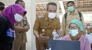 Bupati Bantul Abdul Halim Muslih kembali melakukan monitoring kegiatan vaksinasi. (Foto: Humas Kab.Bantul)