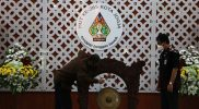 Walikota Yogyakarta Haryadi Suyuti menabuh gong menandai peresmian Logo HUT Ke-265 Kota Jogja. (Foto: Humas Pemkot Yogya)
