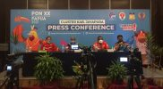 Konferensi Pers tentang Pembinaan Atlet Papua dan Ketenagalistrkan di Papua, di Media Center Kominfo PON Papua Klaster Kabupaten Jayapura, Selasa (12/20/2021). (Foto:MC Kominfo PON Papua Klaster Jayapura)